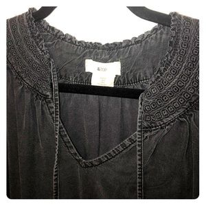 Light weight Black denim bohemian blouse! SO CUTE!
